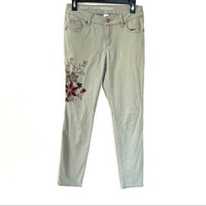 Westport Floral Embroidered Green Skinny Jean 2